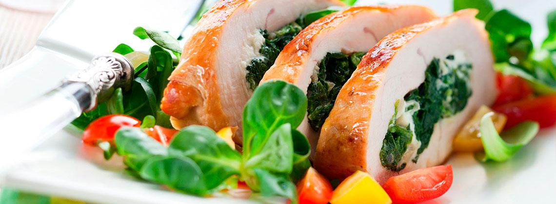 Куриные грудки, фаршированные брынзой и зеленью